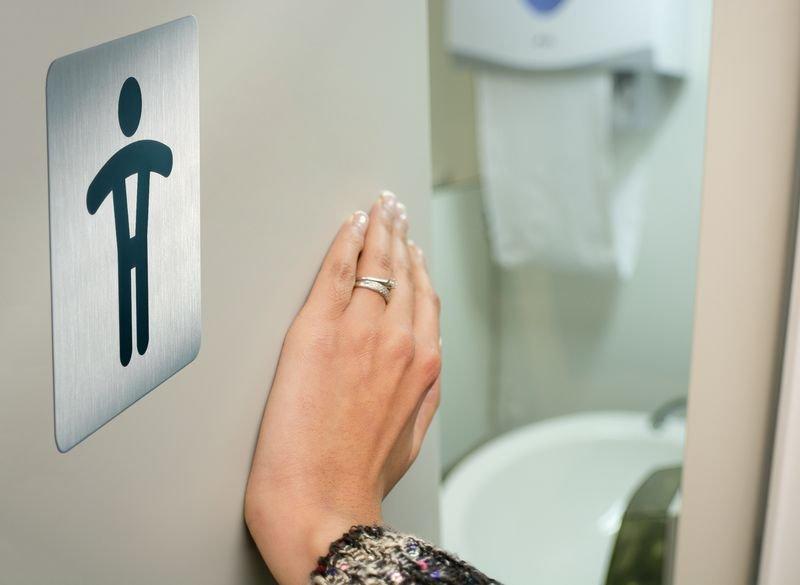 Panneau d'information design carré Toilettes homme - Seton