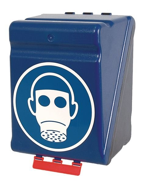 Boîtes de rangement standards pour EPI avec pictogramme Protection des voies respiratoires obligatoire