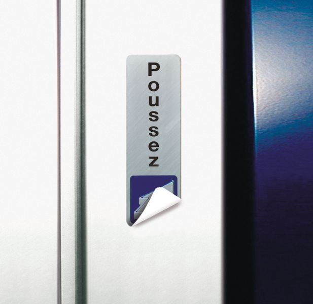 Signalétique adhésive en vinyle argenté Pousser pour ouvrir avec texte Poussez - Seton