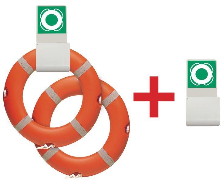 Prix Spécial - Pack de 2 bouées de sauvetage couronnes + 1 support = 1 support offert