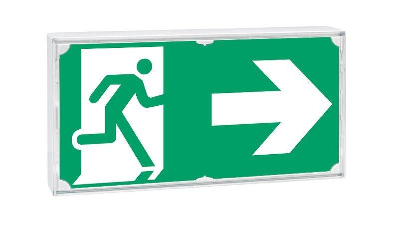 Etiquette pour blocs de secours Homme qui court, flèche à droite - Seton