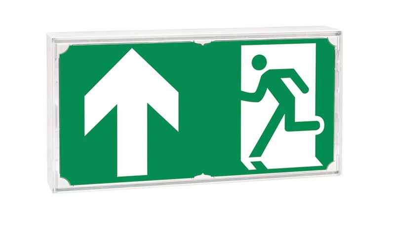 Etiquette pour blocs de secours Homme qui court, flèche en haut - Seton