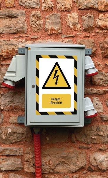 Porte-documents adhésifs à fermeture magnétique Danger Electricité - Panneaux et pictogrammes de Danger électrique