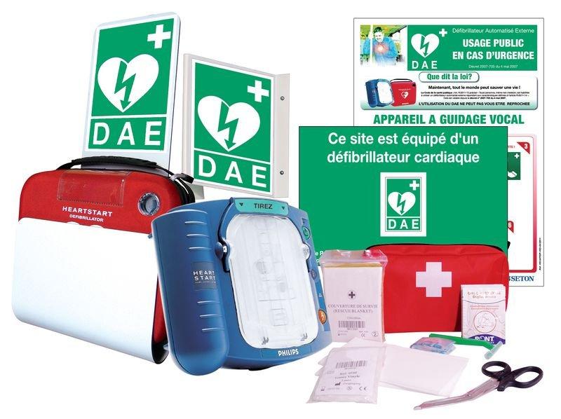 Prix Spécial - Pack complet défibrillateur semi-automatique Philips HS1 + trousse de secours