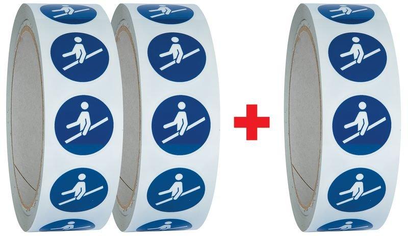 Lot de 3 rouleaux de pictogrammmes ISO 7010 Utiliser la main courante - M012 (2+1 gratuit)