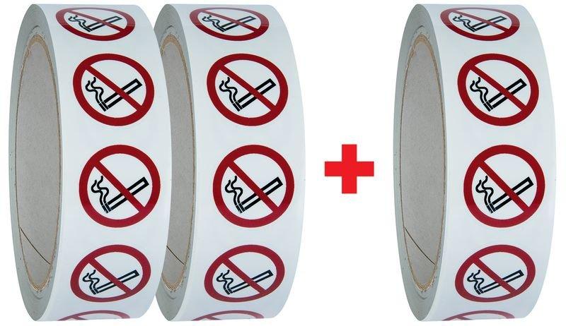 Lot de 3 rouleaux de pictogrammmes ISO 7010 Interdiction de fumer - P002 (2+1 gratuit)