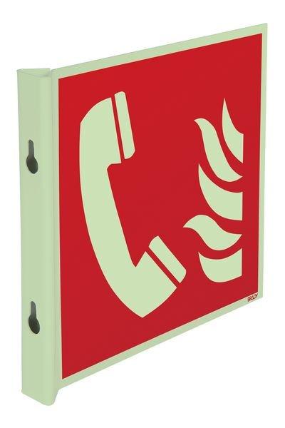 Pictogrammes en drapeau et tridimensionnels photoluminescents EN ISO 7010 Téléphone à utiliser en cas d'incendie