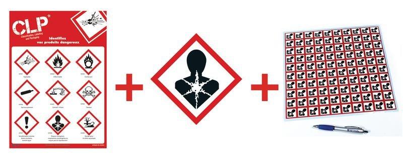 Kit autocollants CLP poster et panneau - GHS08