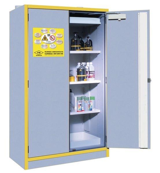 Armoire de sécurité gris/jaune pour produits inflammables 30 minutes