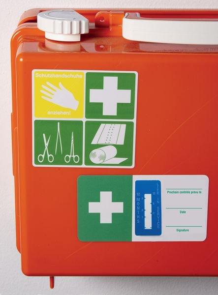 Indicateurs de temps - Équipements et trousses de premiers secours - Etiquettes d'inspection milieux secs