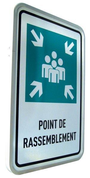 Panneaux en aluminium Point de rassemblement avec texte - Panneaux et pictogrammes point de rassemblement