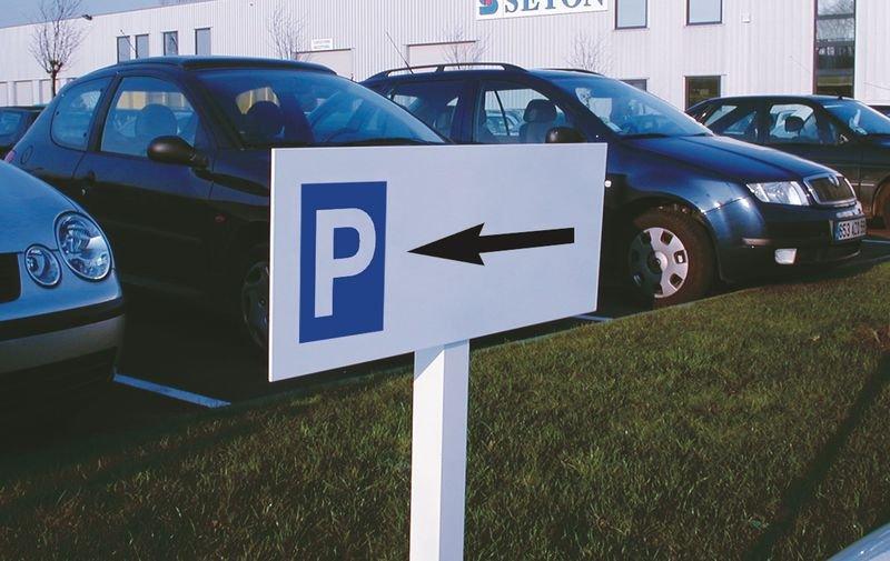 Panneau Parking flèche à gauche sur poteau - Seton