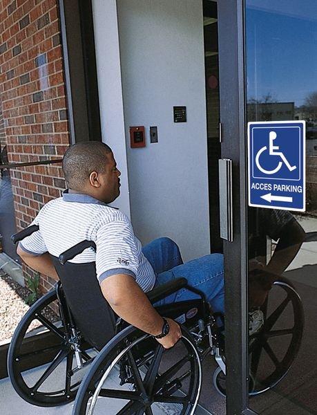 Panneau Accès parking Handicapés à gauche - Seton