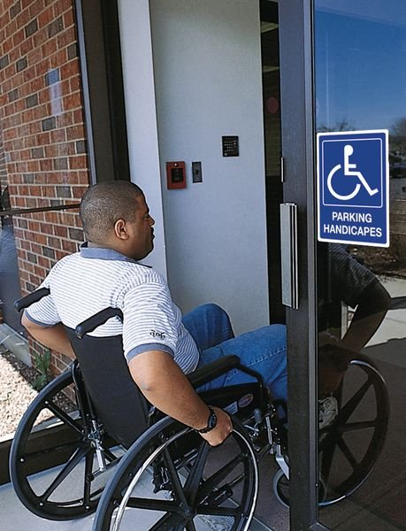 Panneau parking Handicapés avec texte - Seton