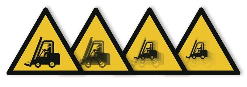 Autocollant rigide animé SETON MOTION® Danger Chariots élévateurs et autres véhicules industriels