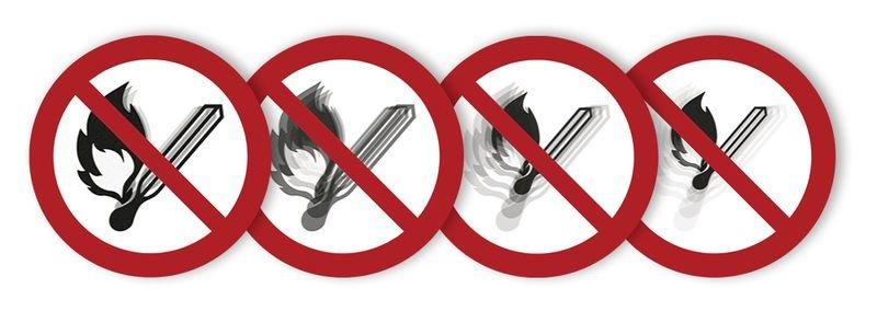 Autocollant rigide animé SETON MOTION® Flammes nues, fumées et feux interdits
