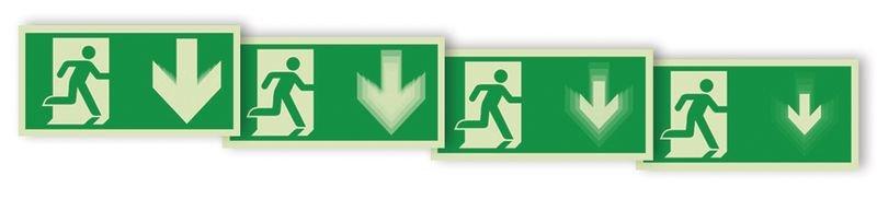 Autocollant rigide animé SETON MOTION® Homme qui court à droite, flèche vers le bas