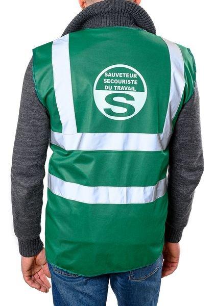 Gilet SST vert - Sauveteur Secouriste du Travail - Vêtements de sécurité et brassards de sécurité