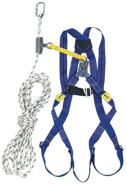 Kit anti-chute toiture 10 m, harnais, coulisseau et longe - Seton