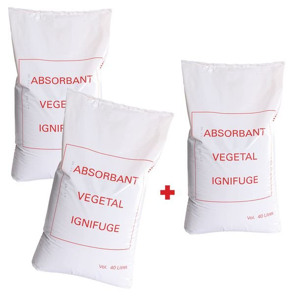 Lot de 3 sacs d'absorbant végétal ignifugé (2+1 gratuit)