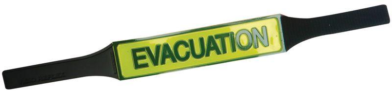 Brassards d'évacuation réfléchissants avec texte en PVC souple