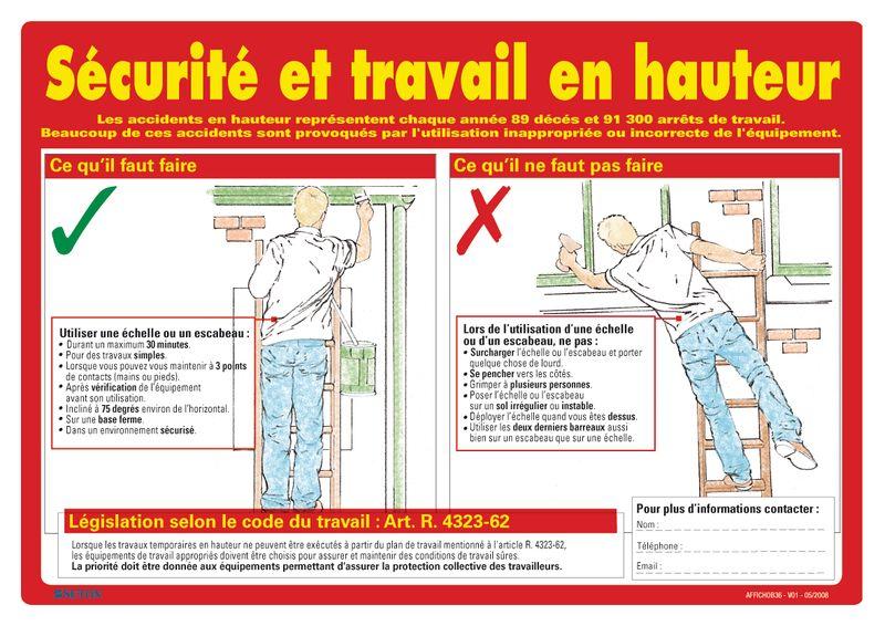 Fabuleux Affiche sur la sécurité et le travail en hauteur | Seton FR HV84