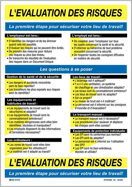 Affiche Sur L 233 Valuation Des Risques Au Travail Seton Fr