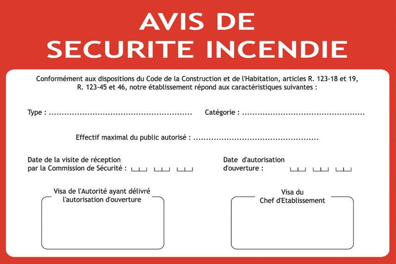 Consigne spécifique Avis de sécurité incendie