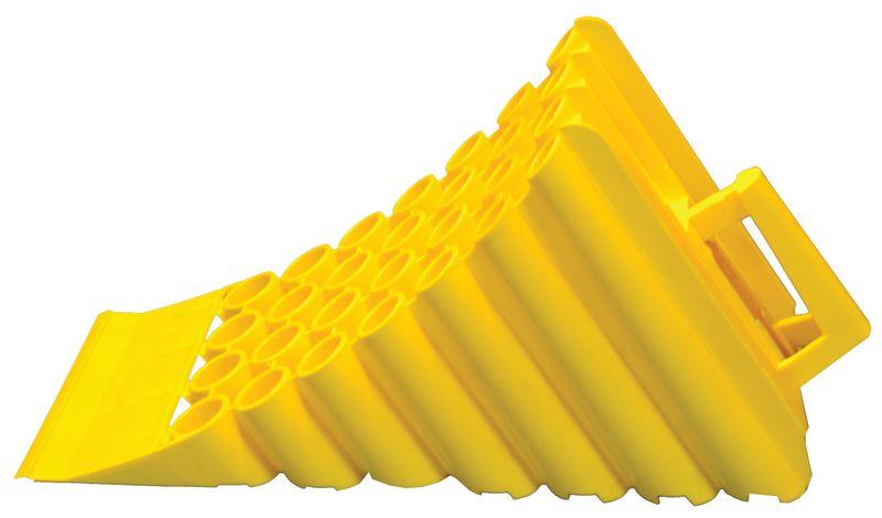 Cale de roue en plastique jaune