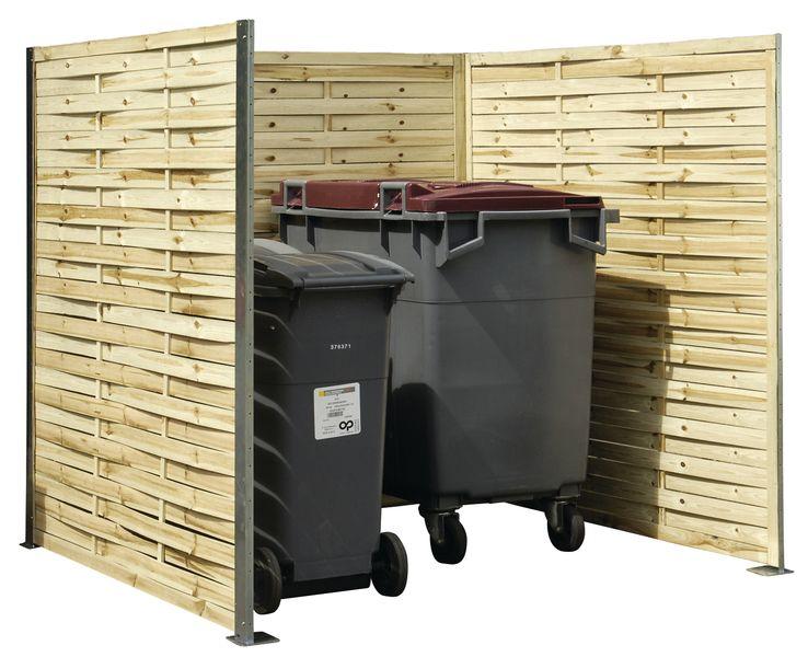 Caches-poubelles en panneaux de bois tressé