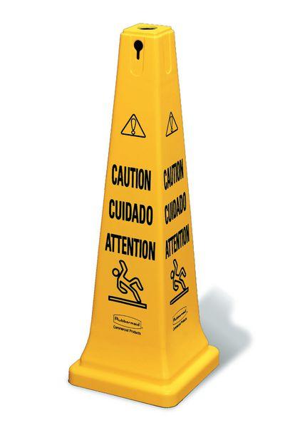 Cône de signalisation multilingue - Attention Risque de chute