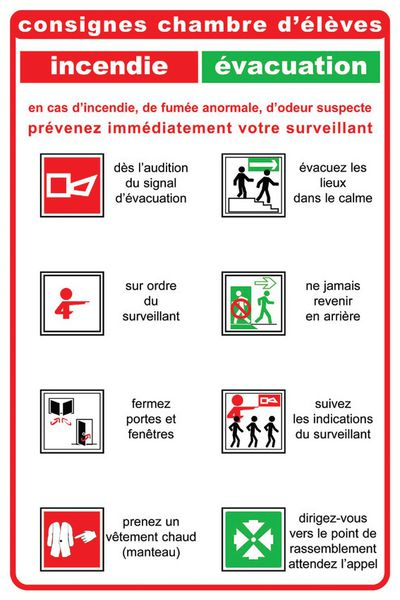 Consignes de sécurité pour chambre d'élèves