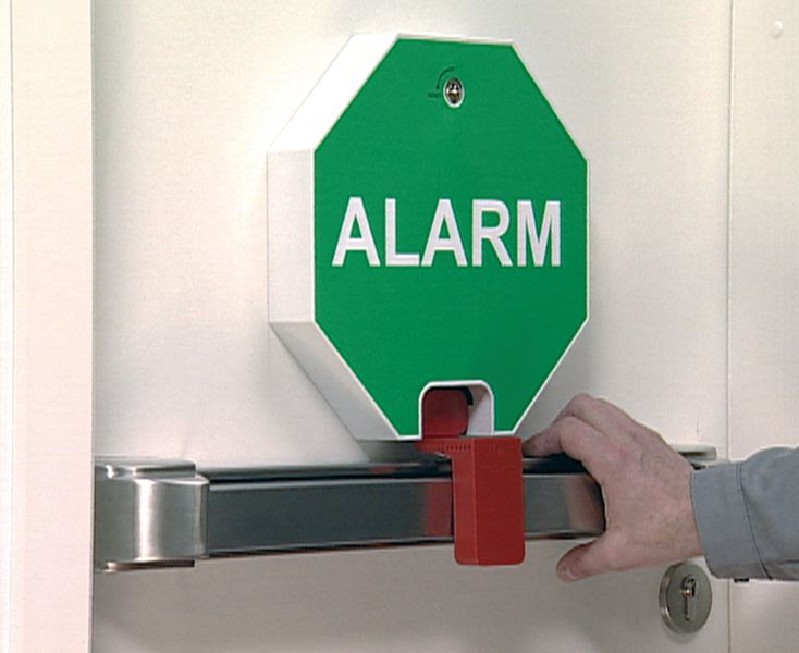 Alarme de porte pour barre anti panique seton fr - Porte issue de secours avec barre anti panique ...