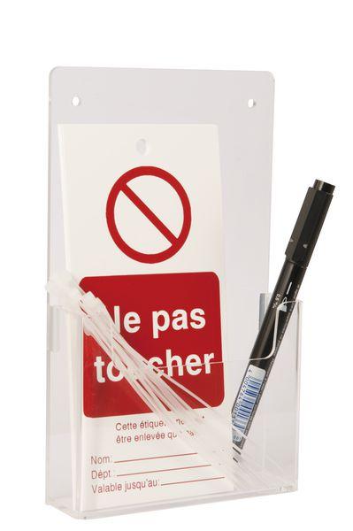 Distributeur d'étiquettes mural petit format en plastique transparent