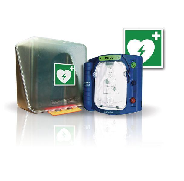 Défibrillateur HeartStart HS1 semi-automatique avec coffret et signalétique