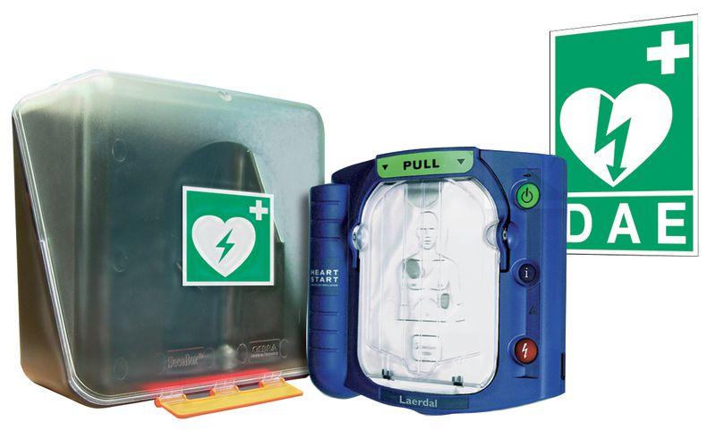 Pack défibrillateur Philips complet avec signalétique, poster et rangement