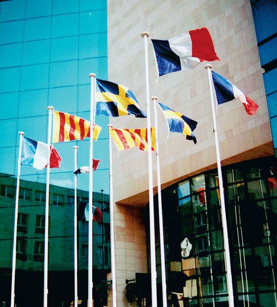 Mâts à drapeaux cylindriques en aluminium blancs