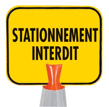 Panneau pour cône de chantier - Stationnement interdit