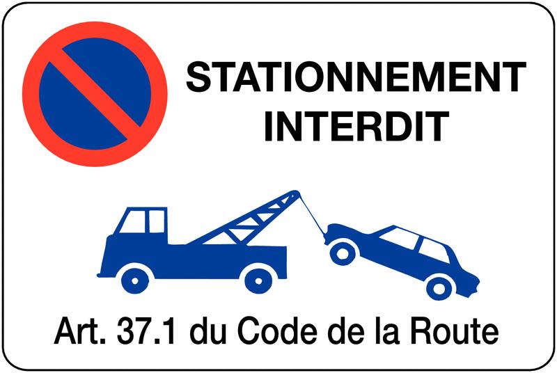 Panneau en pvc mise en fourri re stationnement interdit - Panneau de stationnement interdit ...