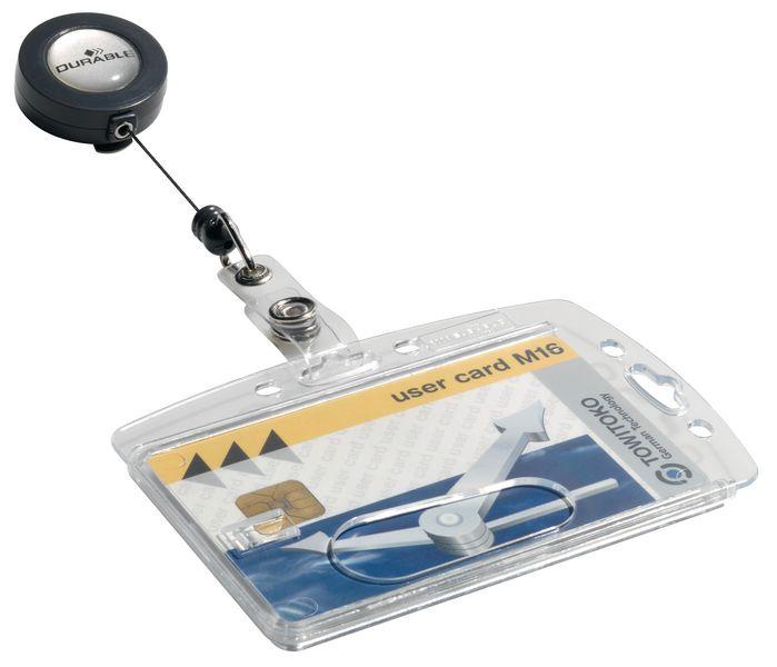 Porte-badge rigide en plastique avec enrouleur