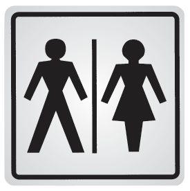 """Panneau d'information adhésif en acier """"Toilettes homme et femme"""""""