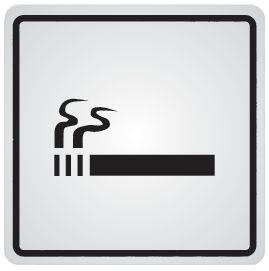 """Panneau d'information adhésif en acier """"Autorisation de fumer"""""""
