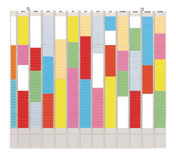 Planning annuel à fiches en T, 12 colonnes et 1 colonne porte-références, année