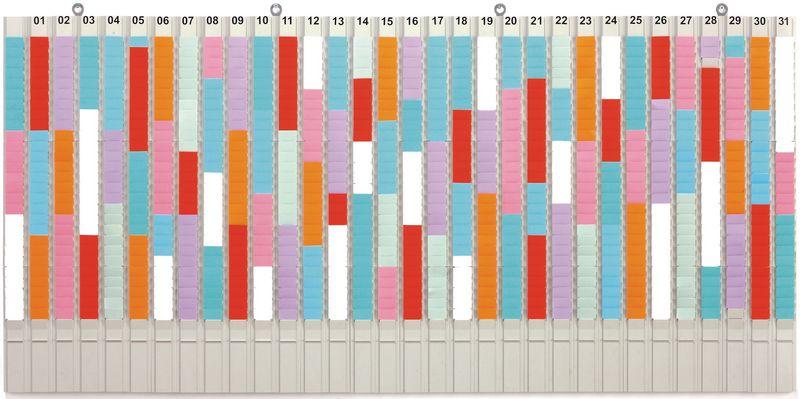 Planning mensuel à fiches en T, 31 colonnes et 1 colonne porte-références