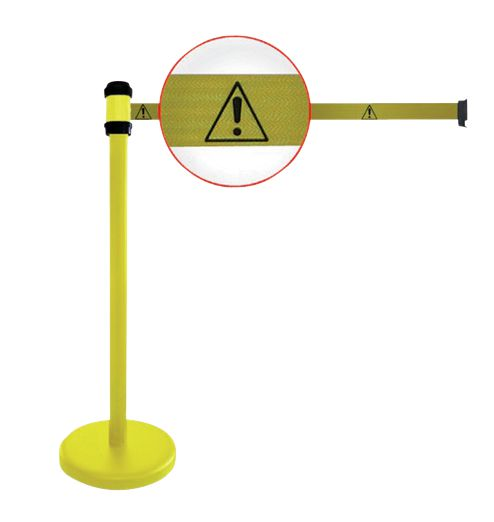 """Poteaux jaunes à sangle étirable avec signalisation """"Danger général"""""""