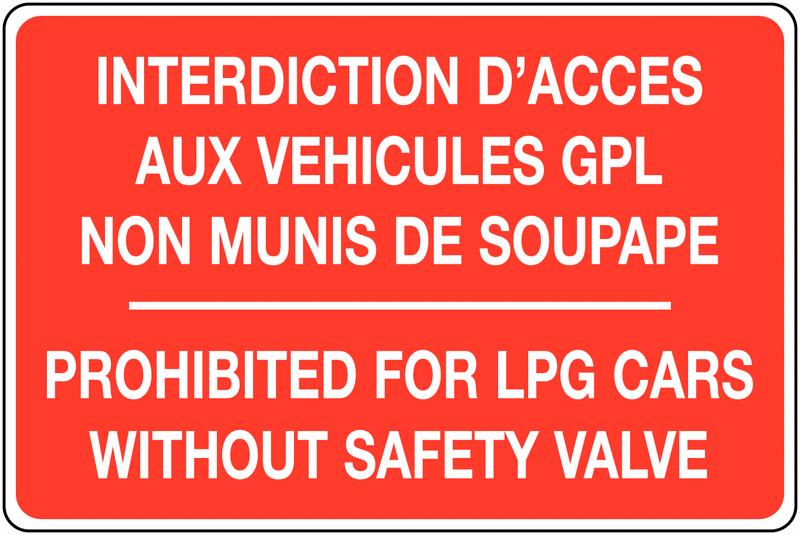 Panneau de parking GPL version bilingue - Interdiction d'accès aux véhicules GPL non munis de soupape