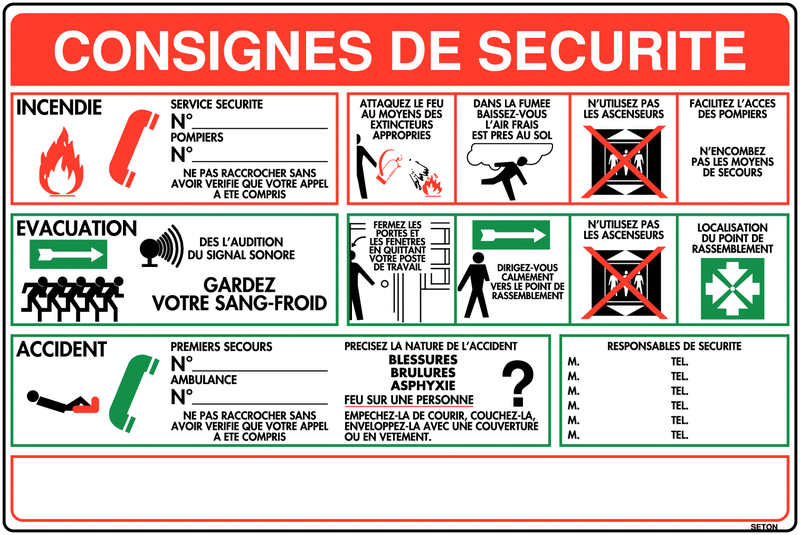 Extrêmement Affichage à compléter - Consignes de sécurité | Seton FR LK44