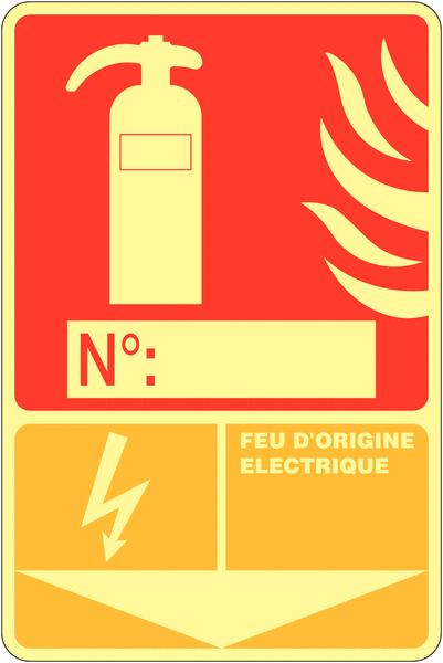 panneau photoluminescent compl ter extincteur d 39 incendie feu d 39 origine lectrique seton fr. Black Bedroom Furniture Sets. Home Design Ideas