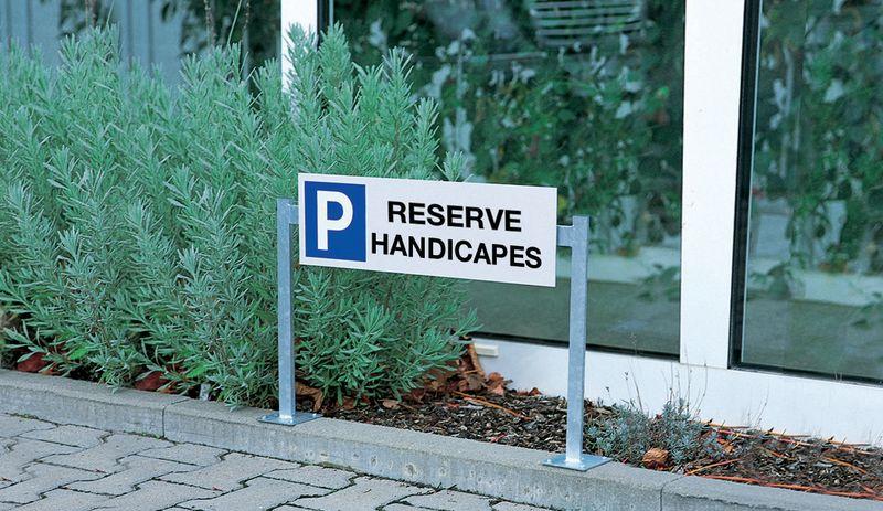 panneau place de parking handicap support double seton fr. Black Bedroom Furniture Sets. Home Design Ideas