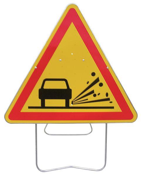 """Panneau de signalisation temporaire sur pied """"Projection de gravillons"""""""